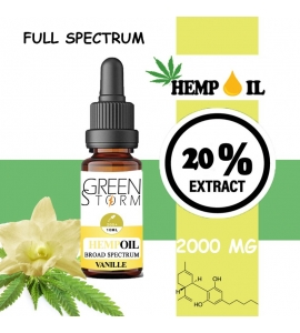 Huile de Chanvre BIO Broad Spectrum 20% 2000 mg 10 ml Hemp Oil saveur Vanille