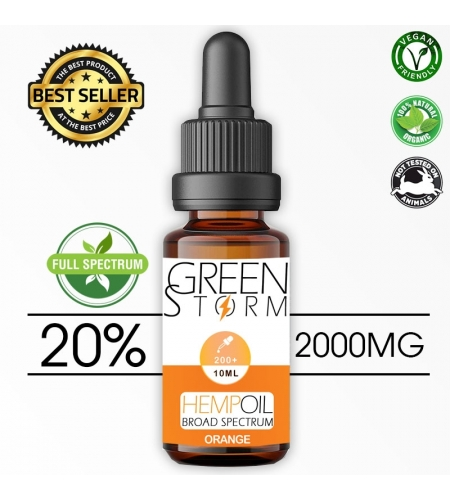 Huile de Chanvre BIO Broad Spectrum 20% 2000 mg 10 ml Hemp Oil saveur Orange