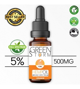 Huile de Chanvre BIO  Broad Spectrum 5% 500 mg 10 ml Hemp Oil saveur Orange