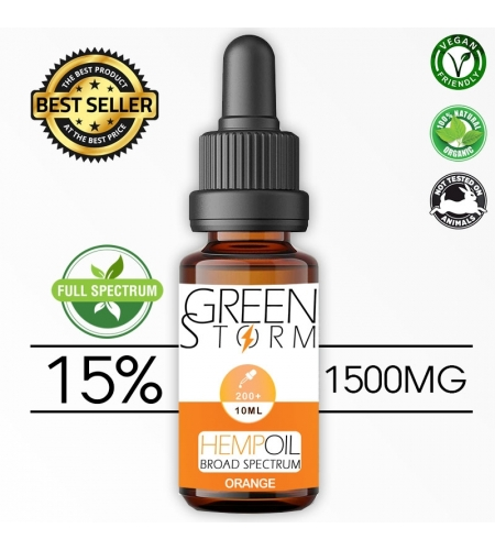 Huile de Chanvre BIO  Broad Spectrum 10% 1000 mg 10 ml Hemp Oil saveur Orange